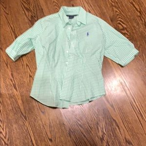 Green and white button up 3/4 length sleeves